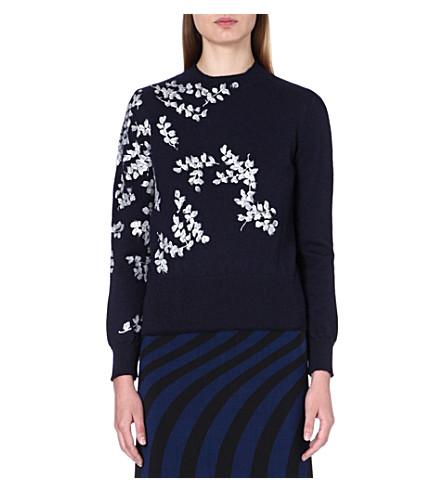 DRIES VAN NOTEN Embroidered knitted jumper (Navy