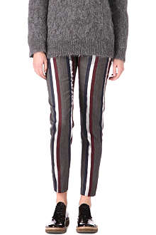 DRIES VAN NOTEN Lurex club stripe wool-blend trousers