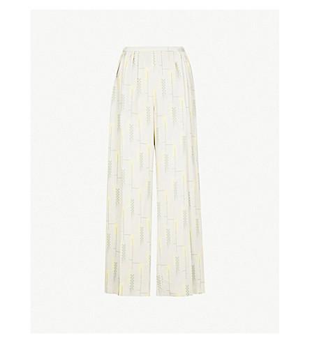 DRIES VAN NOTEN Geometric-print wide-leg crepe trousers (Dust