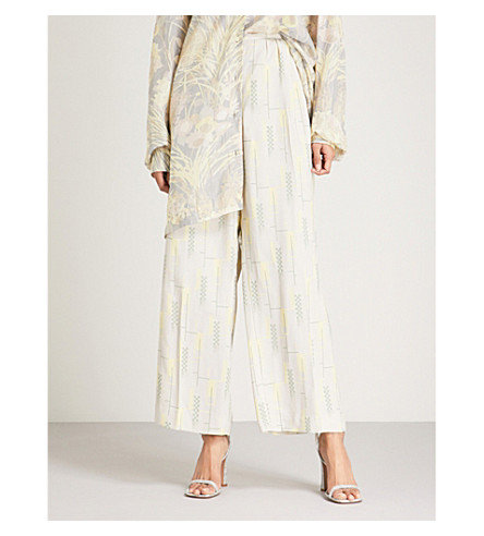 DRIES VAN NOTEN Geometric-print wide-leg crepe trousers (Dust