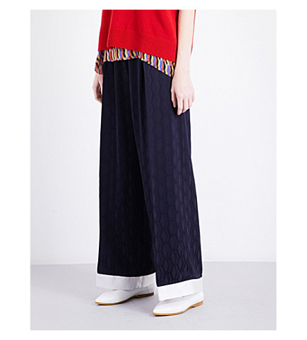 DRIES VAN NOTEN Palmers wide-leg satin trousers (Navy