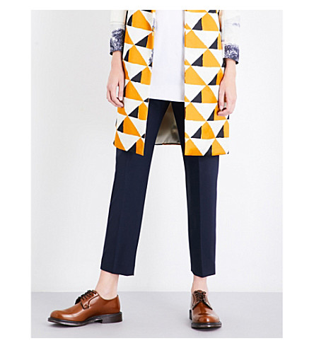 DRIES VAN NOTEN Palmira tapered mid-rise gabardine trousers (Navy