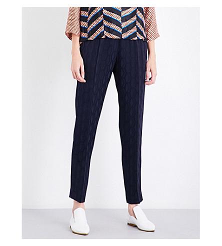 DRIES VAN NOTEN Palmira straight high-rise jacquard trousers (Navy
