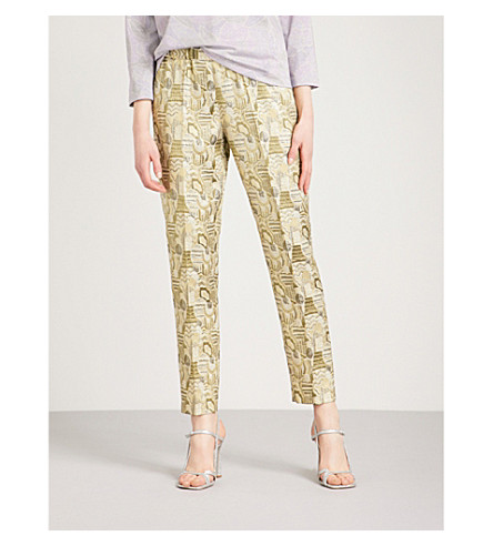DRIES VAN NOTEN Malmira tapered metallic-jacquard trousers (Green