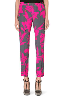 DRIES VAN NOTEN Silk slim tapered trousers