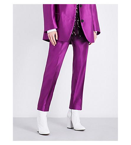 DRIES VAN NOTEN Pama high-rise tapered silk trousers (Purple