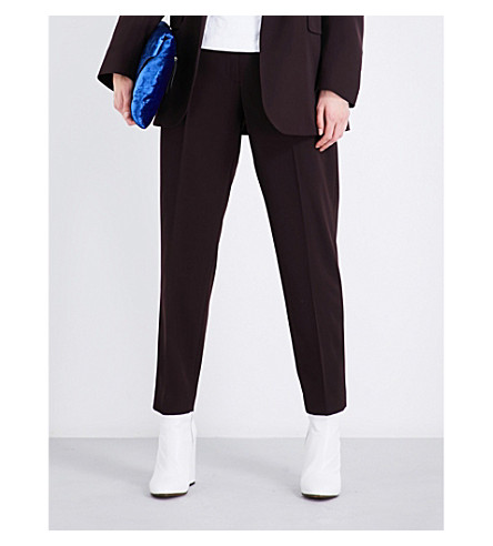DRIES VAN NOTEN Pama high-rise tapered wool trousers (Auber