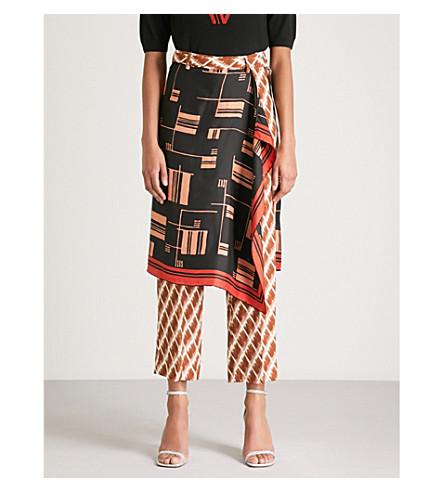 DRIES VAN NOTEN Panax scarf-detail straight silk trousers (Black