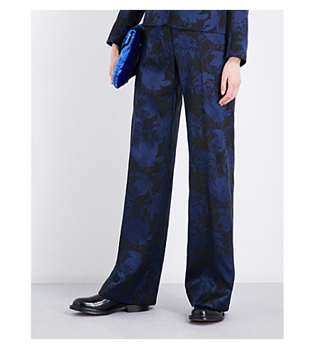 DRIES VAN NOTEN Panter floral straight mid-rise jacquard trousers (Navy