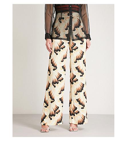 DRIES VAN NOTEN Printed high-rise wide-leg crepe trousers (Ecru