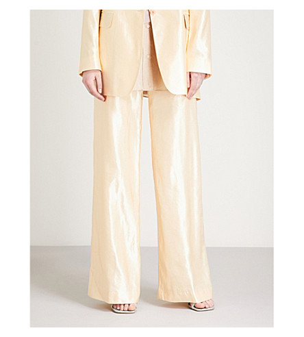 DRIES VAN NOTEN Panter straight high-rise satin trousers (Pale+yellow