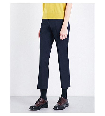 DRIES VAN NOTEN Paola tapered wool trousers (Navy