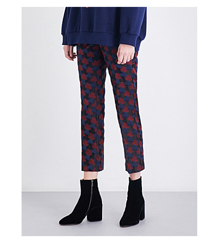 DRIES VAN NOTEN Paola geo-print straight high-rise jacquard trousers (Navy