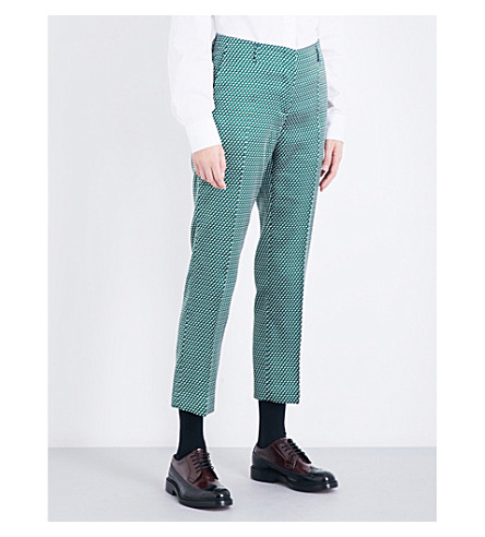 DRIES VAN NOTEN Paola tapered jacquard trousers (Green