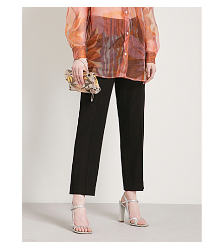 DRIES VAN NOTEN Slim-fit straight-leg wool trousers (Black