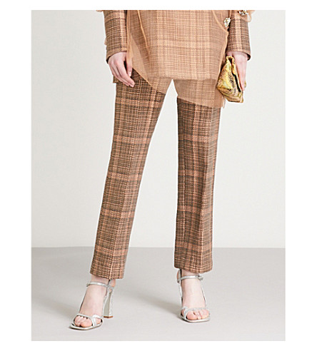 DRIES VAN NOTEN Checked tapered cotton-blend trousers (Rust