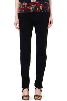 DRIES VAN NOTEN Tailored contrast-panel tuxedo trousers