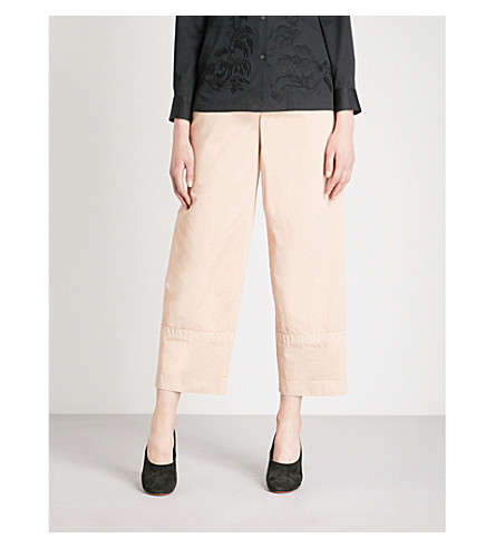 DRIES VAN NOTEN Wide-leg cotton trousers (Rose