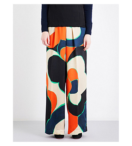 DRIES VAN NOTEN Pavlova high-rise silk-satin trousers (Red