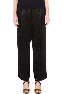 DRIES VAN NOTEN Silk floral wide-leg trousers