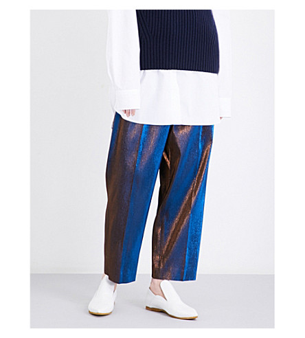 DRIES VAN NOTEN Penny cropped metallic trousers (Blue