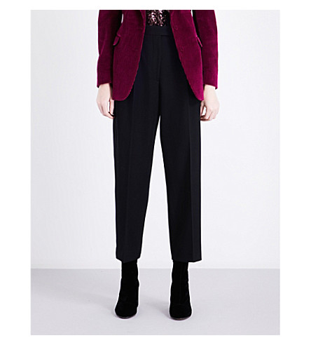 DRIES VAN NOTEN Penny tapered wool trousers (Navy