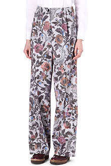 DRIES VAN NOTEN Floral wide-leg trousers