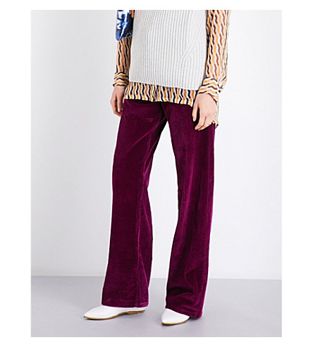 DRIES VAN NOTEN Picabo wide-leg corduroy trousers (Fuchsia