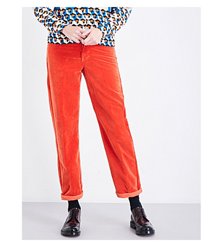 DRIES VAN NOTEN Pisco boyfriend-fit high-rise velvet jeans (Orange