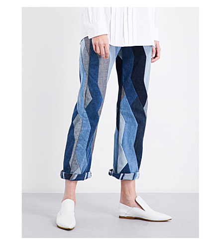 DRIES VAN NOTEN Pisco patchwork straight high-rise jeans (Des+c