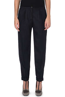 DRIES VAN NOTEN Flannal crop pinstripe trousers
