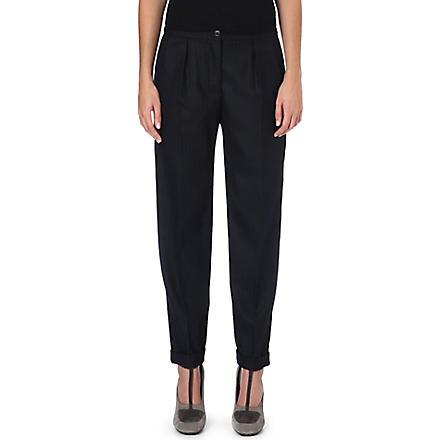 DRIES VAN NOTEN Cropped pinstripe trousers (Navy