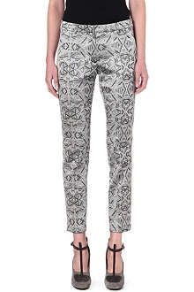 DRIES VAN NOTEN Printed jacquard slim tapered trousers