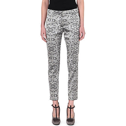 DRIES VAN NOTEN Printed jacquard slim tapered trousers (Silver