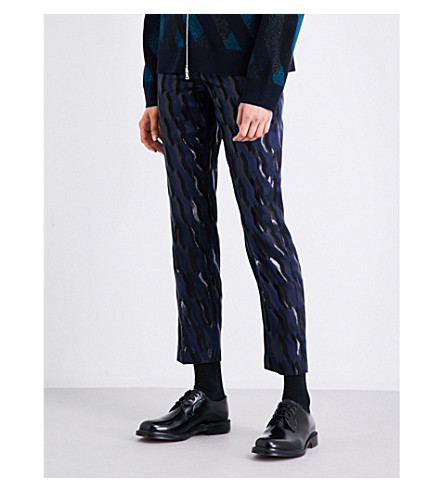 DRIES VAN NOTEN Poumas mid-rise tapered jacquard trousers (Navy