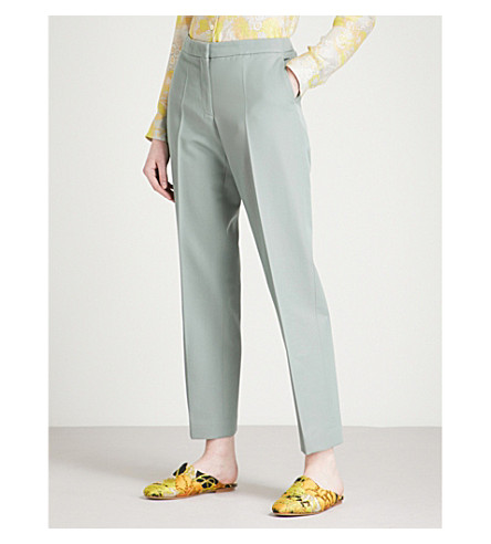 DRIES VAN NOTEN Poumas tapered mid-rise wool-twill trousers (Mint