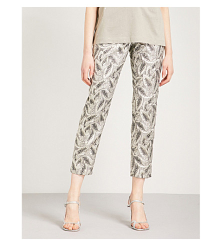 DRIES VAN NOTEN Pouma straight metallic-jacquard trousers (Silver