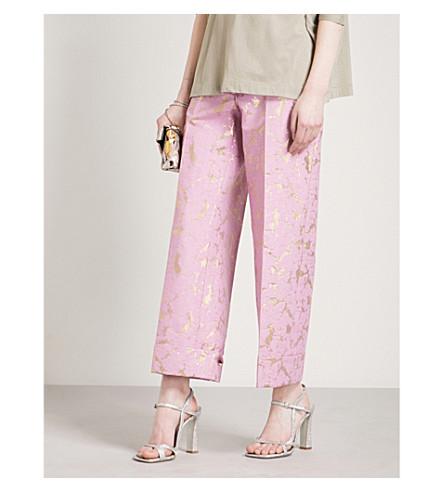 DRIES VAN NOTEN Straight-leg metallic jacquard trousers (Pink