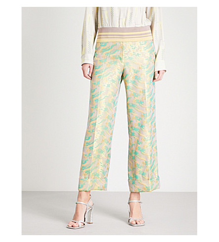 DRIES VAN NOTEN Prope wide-leg metallic jacquard trousers (Green