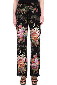 DRIES VAN NOTEN Floral-printed silk trousers