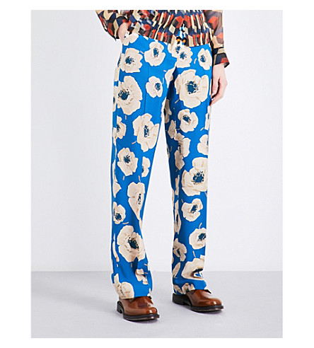 DRIES VAN NOTEN Pulley geometric and floral-print crepe trousers (Des+c