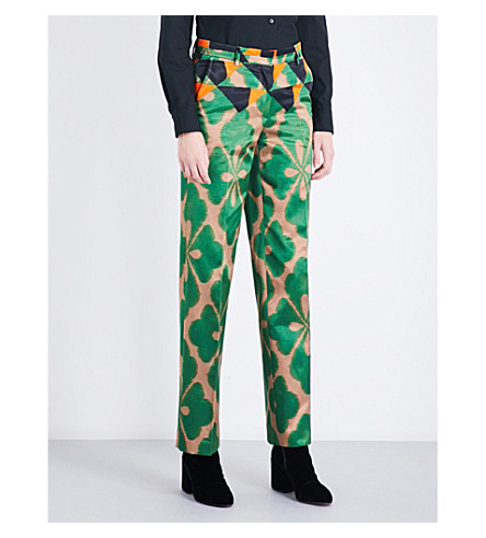 DRIES VAN NOTEN Pulley high-rise straight crepe trousers (Desb