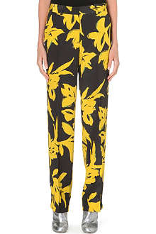 DRIES VAN NOTEN Wide silk floral-print trousers