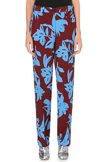 DRIES VAN NOTEN Floral-print wide-leg silk trousers