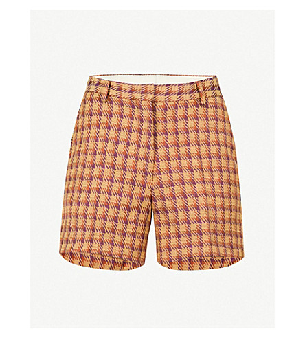 DRIES VAN NOTEN High-rise jacquard shorts (Purple