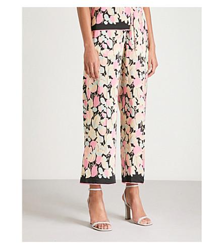 DRIES VAN NOTEN Puvis floral-print wide-leg satin trousers (Pink