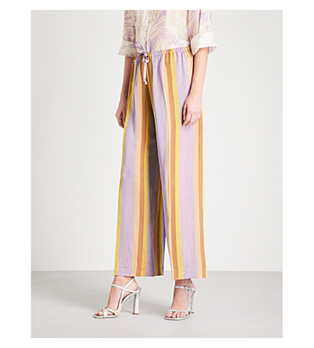 DRIES VAN NOTEN Puvis wide high-rise satin trousers (Lilac
