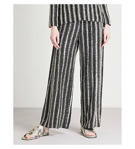DRIES VAN NOTEN Puvis bead-embellished striped wide-leg silk-crepe trousers (Black