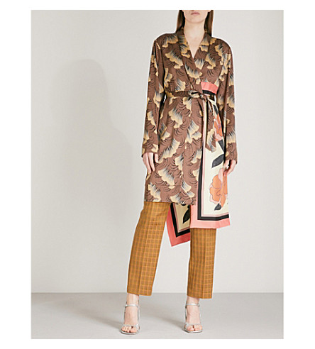 DRIES VAN NOTEN Racun satin kimono jacket (Brown