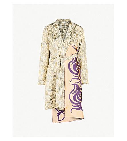 DRIES VAN NOTEN Racun scarf-panel jacquard coat (Green